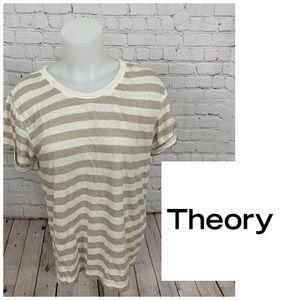 Theory Lisso Striped Linen Blend Shirt